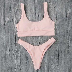 Baby Pink Tankini Thong Set [A]